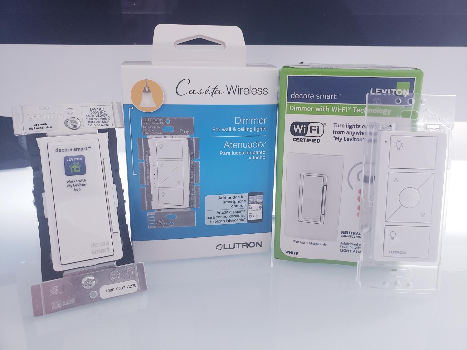 Lutron Caseta Smart Light Switch Dimmer & Leviton Smart Light Switch Dimmer