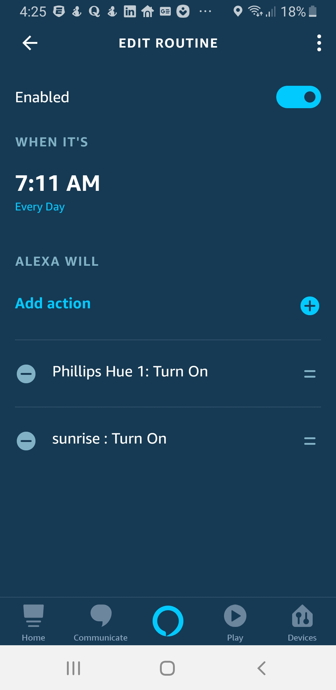 Philips Hue Smart Light Bulbs are among some of the best light bulbs for Alexa. The Screen shot shows setting up a schedule in the Alexa app with a Philips Hue Smart Light Bulb.