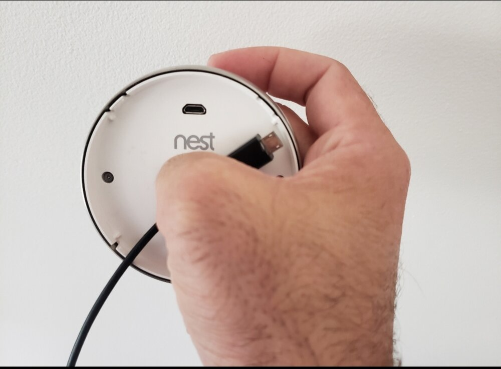 Charge The Nest Thermostat Battery With The Built In  Micro USB B charging port.