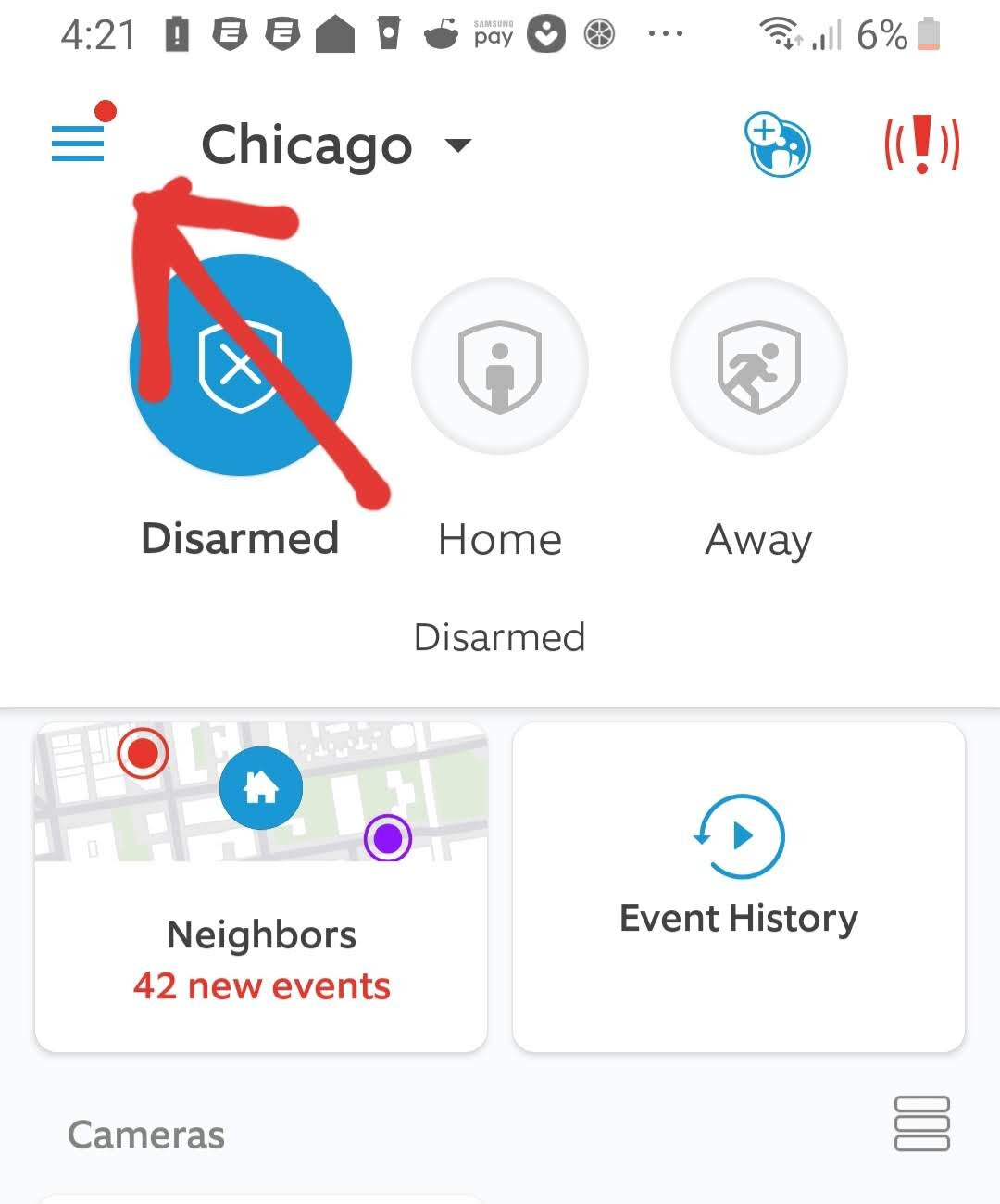 Ring Pro Doorbell App Setup. Click on the menu in the upper left hand corner.
