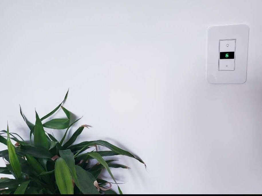 Control your lighting with Alexa. Shown above is an  Alexa controlled smart dimmer  light switch. That will turn on and off with Alexa voice commands.