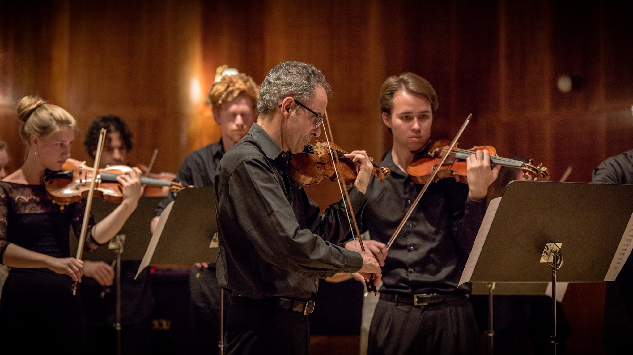 Faculty Member Eugene Drucker (Emerson String Quartet) performs with the New Music for Strings Chamber Orchestra at The Royal Danish Academy of Music Copenhagen. —NMFS 2016