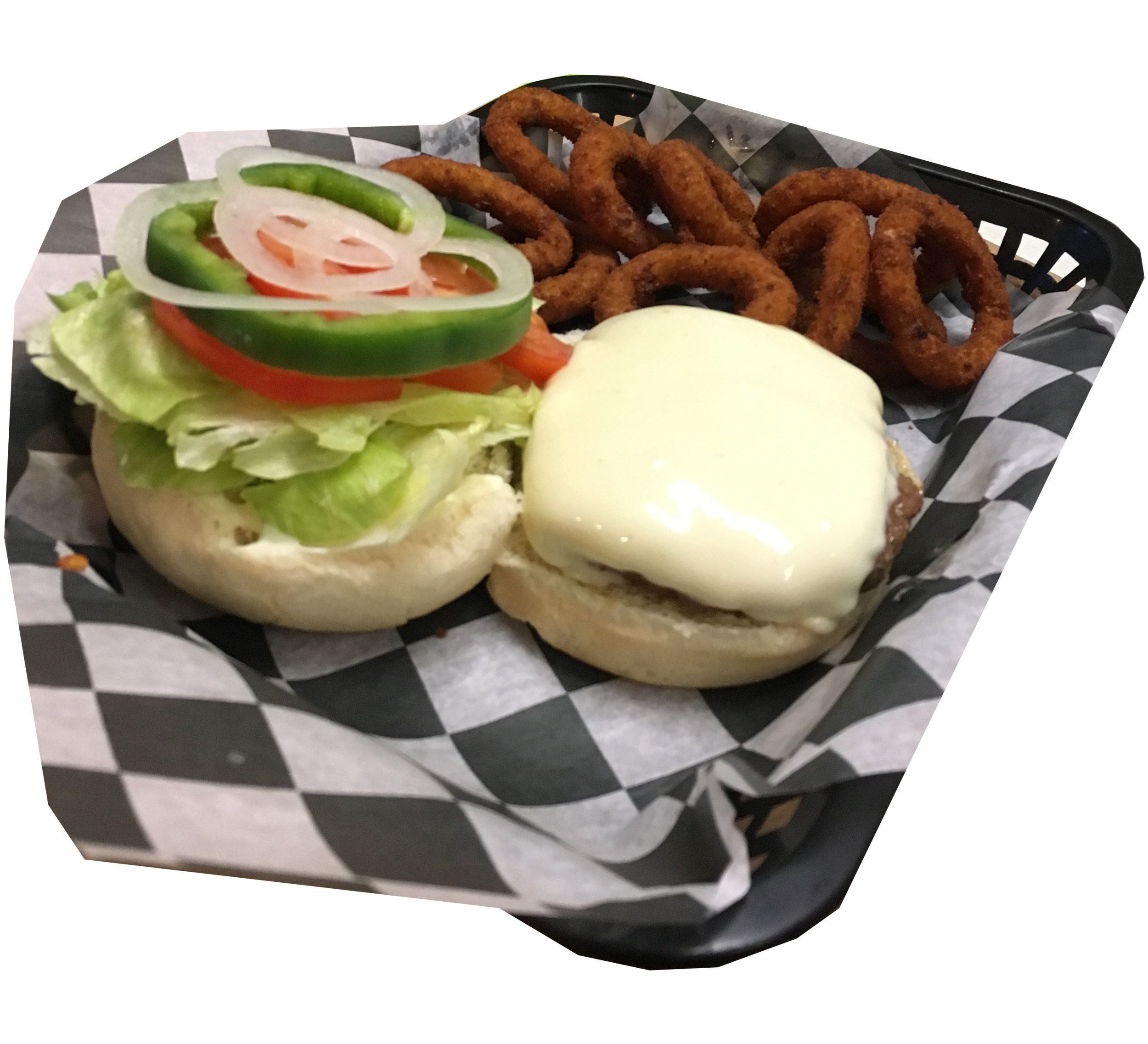 California Cheese Burger and Onion Rings