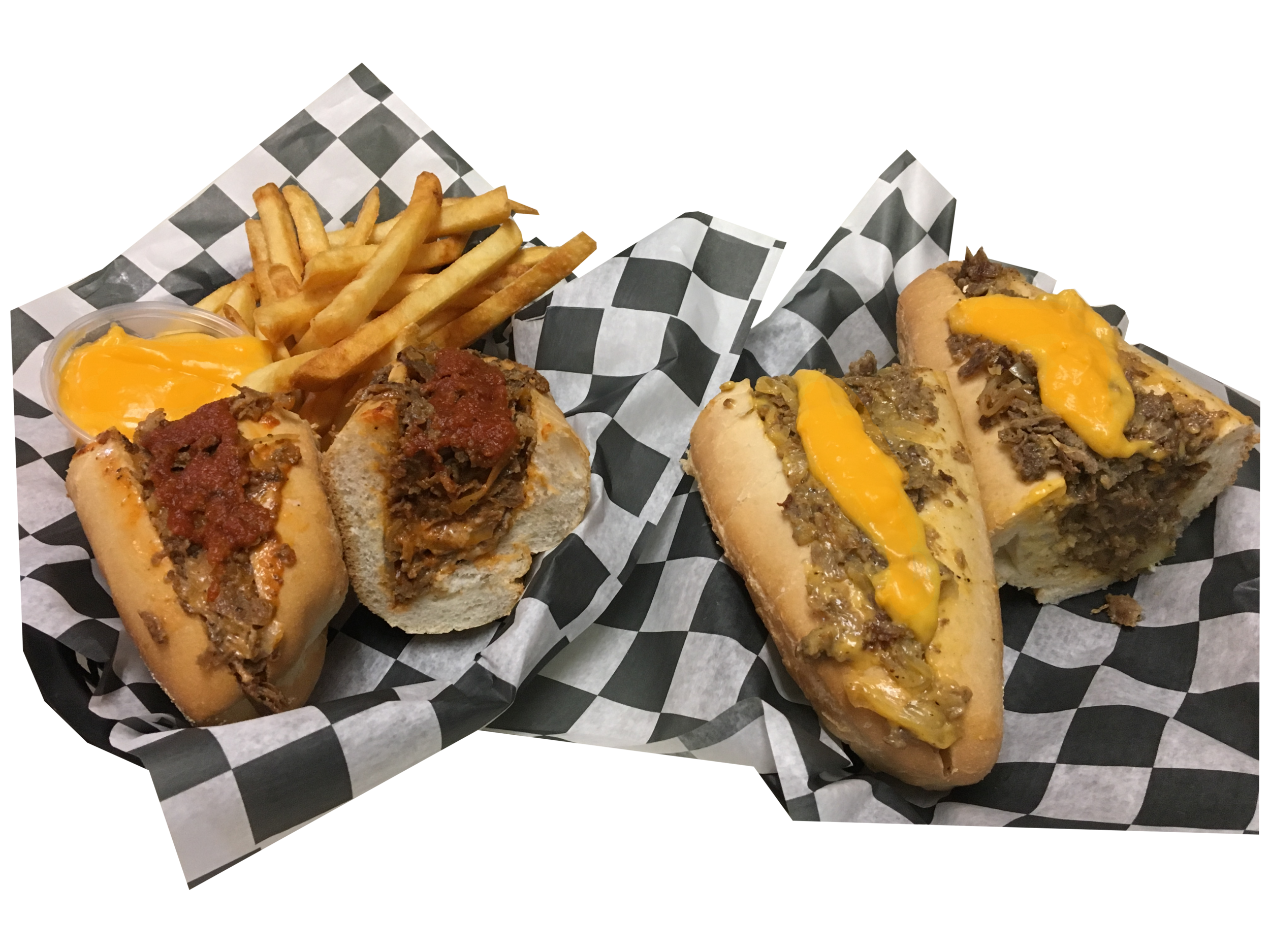 Regular Cheese Steak with Cheese Fries and Steak and Whiz