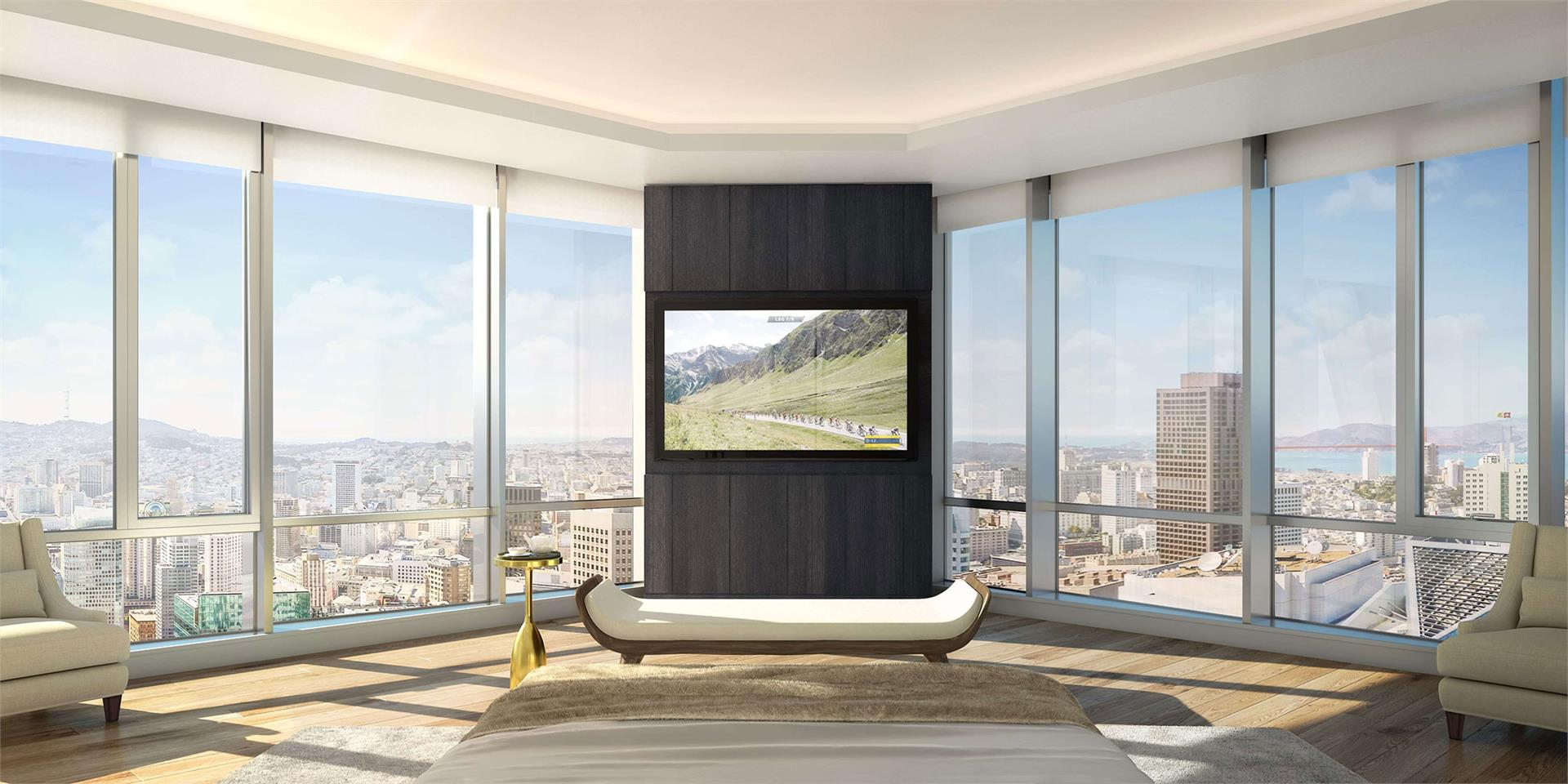 CinemaFrame systems were pre-wired into all 55 luxury units at 181 Fremont in San Francisco.