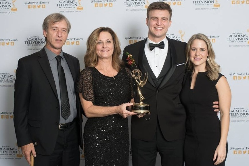Steve (Dad), Annie (Mom), Tommy and Lindsey at the 2018 Upper Midwest Regional Emmy Award Gala.
