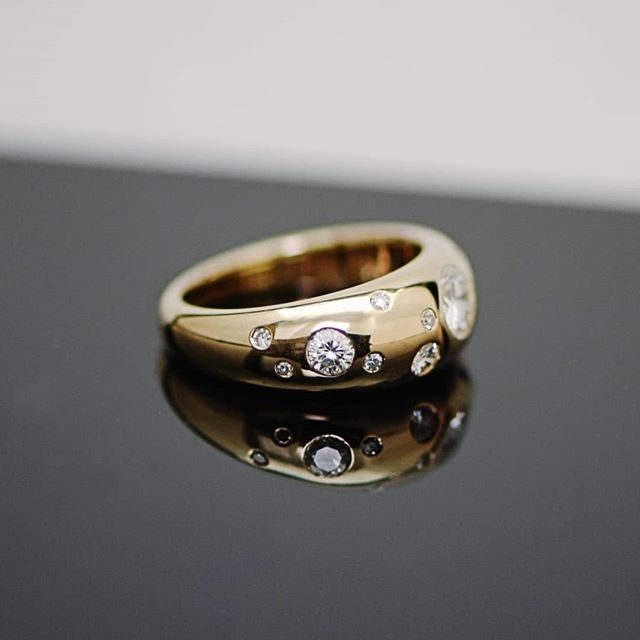 How special is this!? This ring started life as 4 different rings (gold and diamonds) and morphed into one super ring with the addition of a secret feature. A gold nugget dug from the hills of daylesford with my clients husband. THE'RE STILL OUT THERE - not Robyn and Derek but gold and gemstones waiting to be discovered. Something so amazing that still blows my mind.  Interested in more pieces like this? I'm working on a bit of a hustle with my PIC @erinmalloy called @wildtoware where we source materials, just like this, to create modern heirlooms with more meaning.  Go check it out 🤙🏻 . . . . . #handmade #diamond #yellowgold #ring #daylesford #nugget #australiannugget #jewelleryremodel #recycledgold #repurposed #custommade #tinkjewellery #tink #melbournemade #melbournemaker #melbournejeweller #customjewellery #australianmade #tinkjewellery #engagementring #melbourne #handmade #custommade #jewellery #customjewellery #slowfashion #gold #diamonds #weddingring