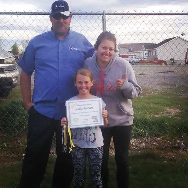 *Player of the Week* Livia Topham #39 on Sting 10u It is no secret that Livia loves the sport of softball! She is always ready to work hard and gives 100%. She has learned a lot and she is a team builder! She may be little but she is a fast running, ball hitting, pitching machine! We are proud to have her on our team!