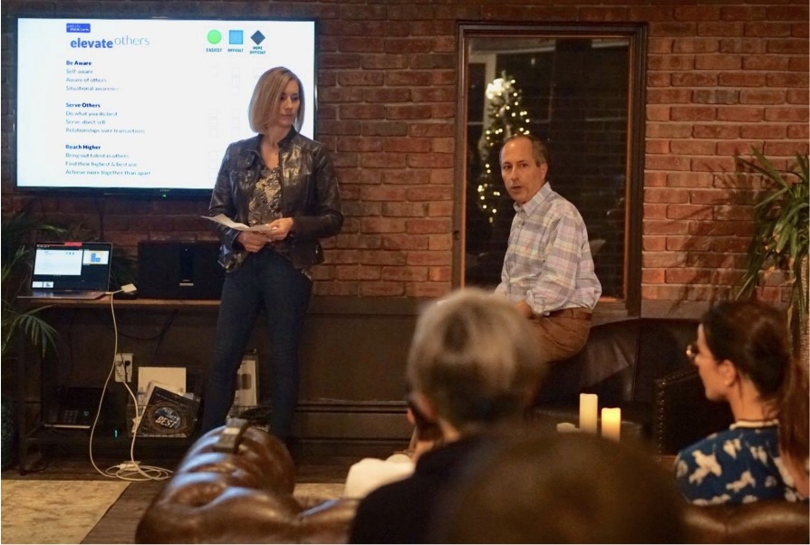 Amy Blaschka and Bruce Kasanoff lead a discussion at a Silicon Slopes Park City event.