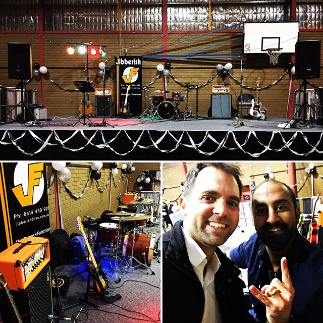 Back at one of our favourite annual gigs... and great to hang with @Vish drums Happy Weekend everyone #geelongbands #geelongmusic #jibberishband #orangeamps #fendertelecaster #ampeg #fenderjazzbass #redrockdrumsaustralia