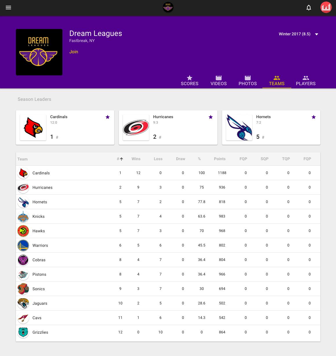Team Standings (Web)
