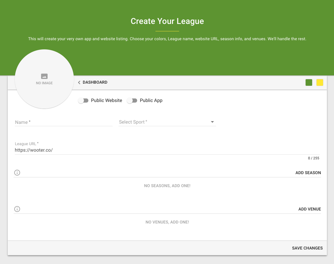 League, Team, Tournament Creator Dashboard