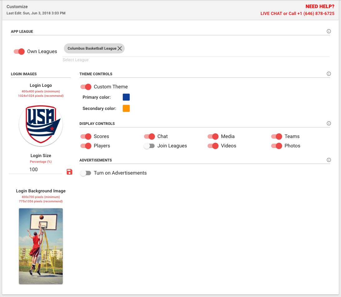 Custom App Builder Dashboard for your Sports Organization