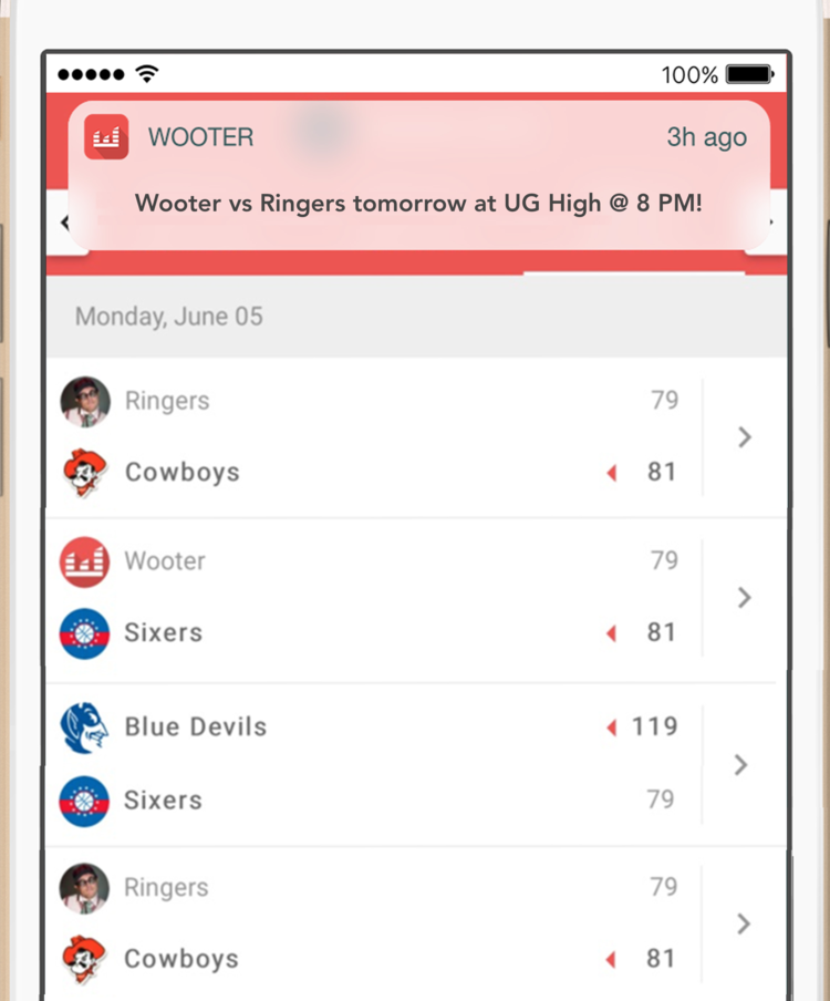 Live Game Notifications for all sports. Free sports management software.