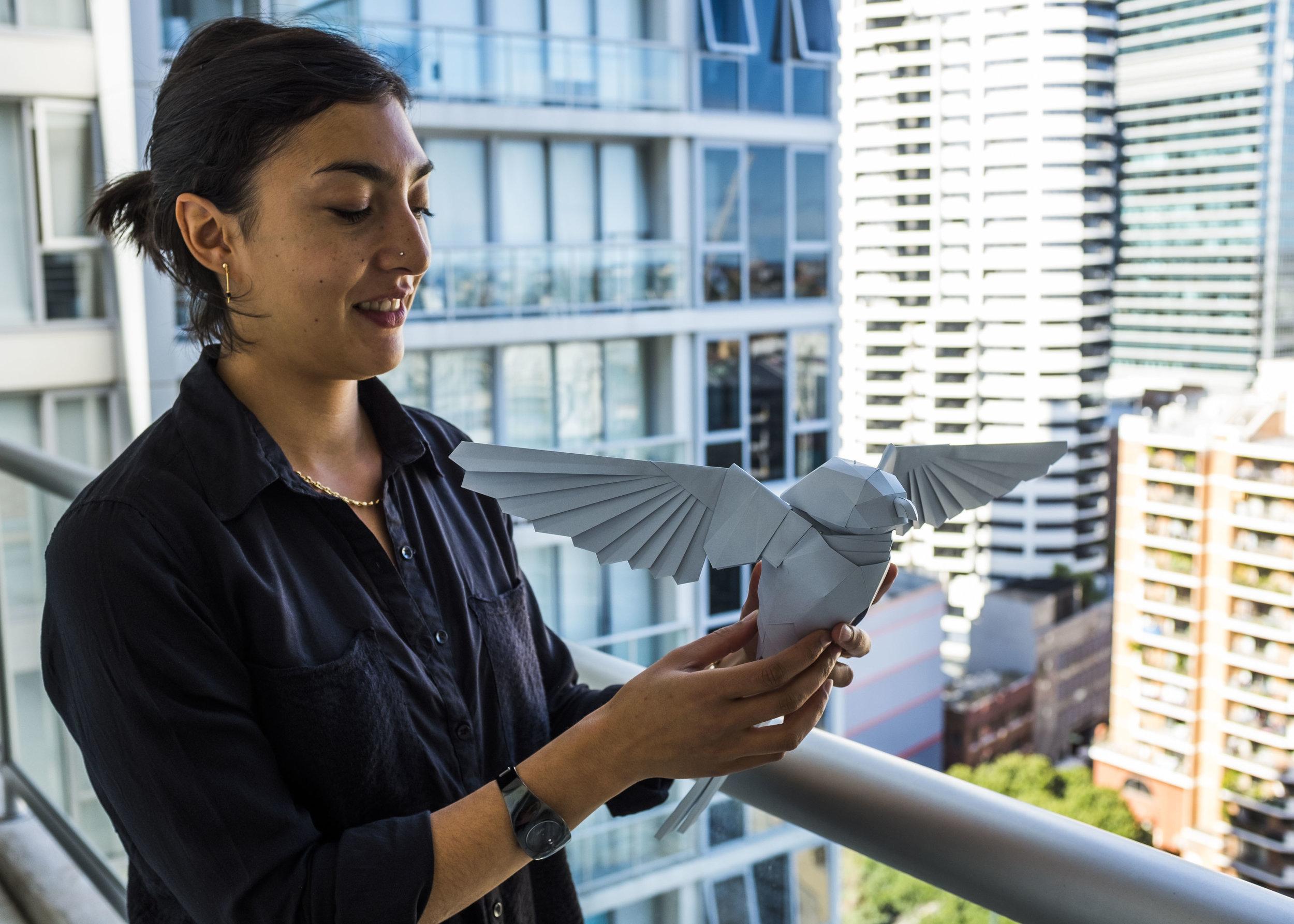 Marine et un prototype de l'oiseau de Telstra.