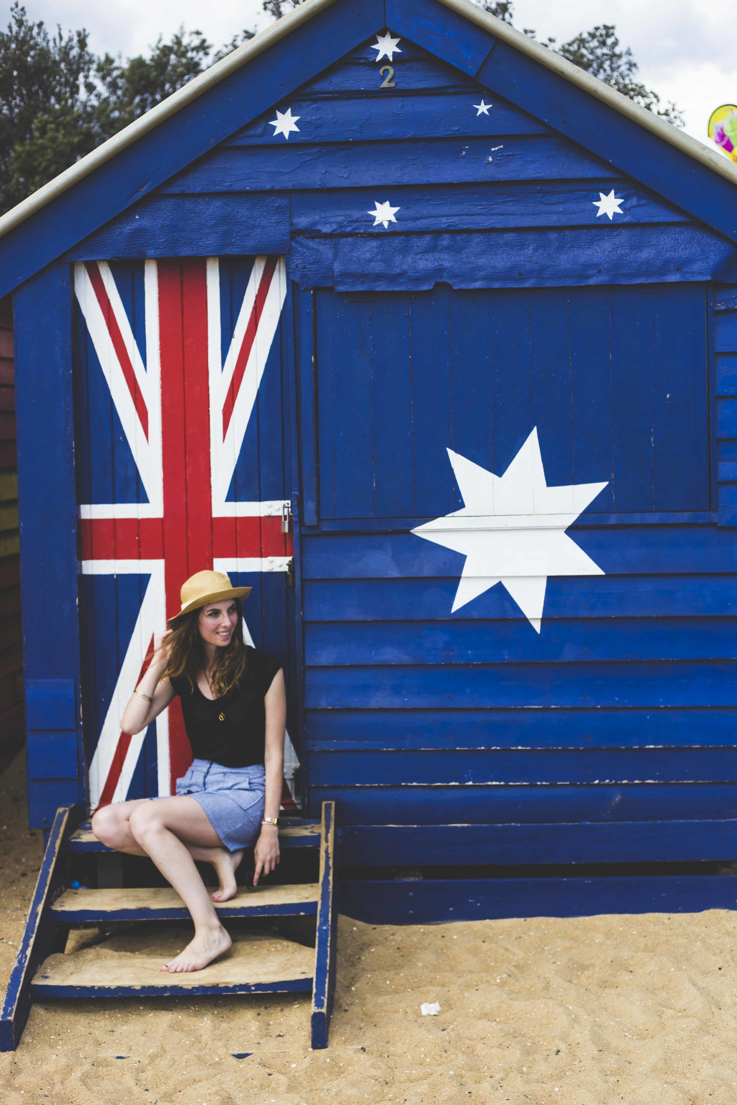 Myself in Brighton Beach in front of the famous bathing box.