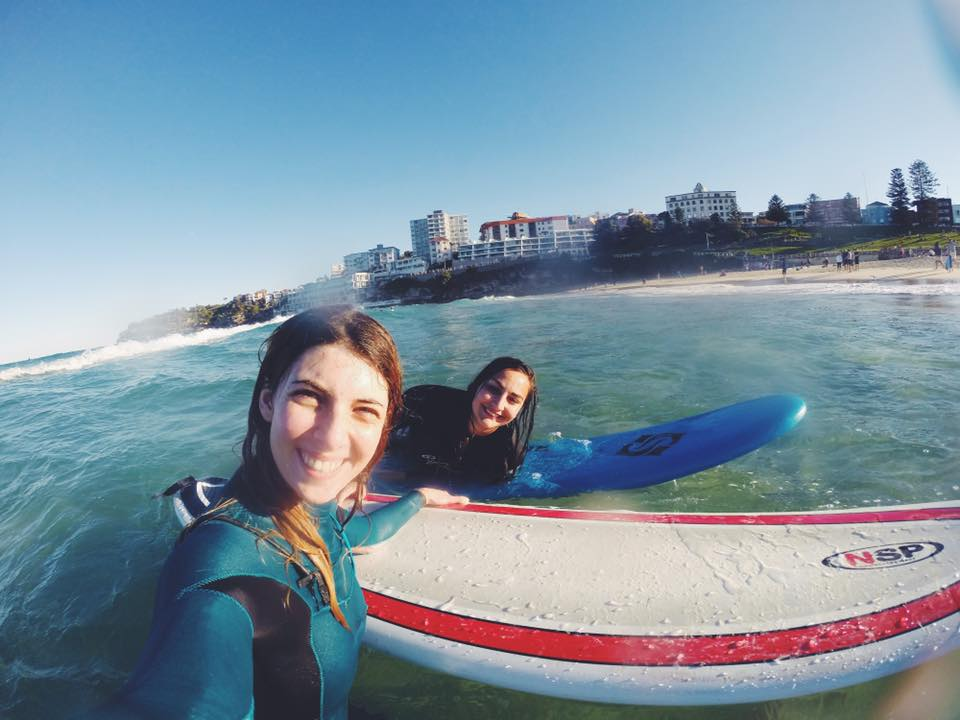 My favourite thing is going surfing and taking photographs! Myself with my friend Agathe. Photo: Marine Raynard