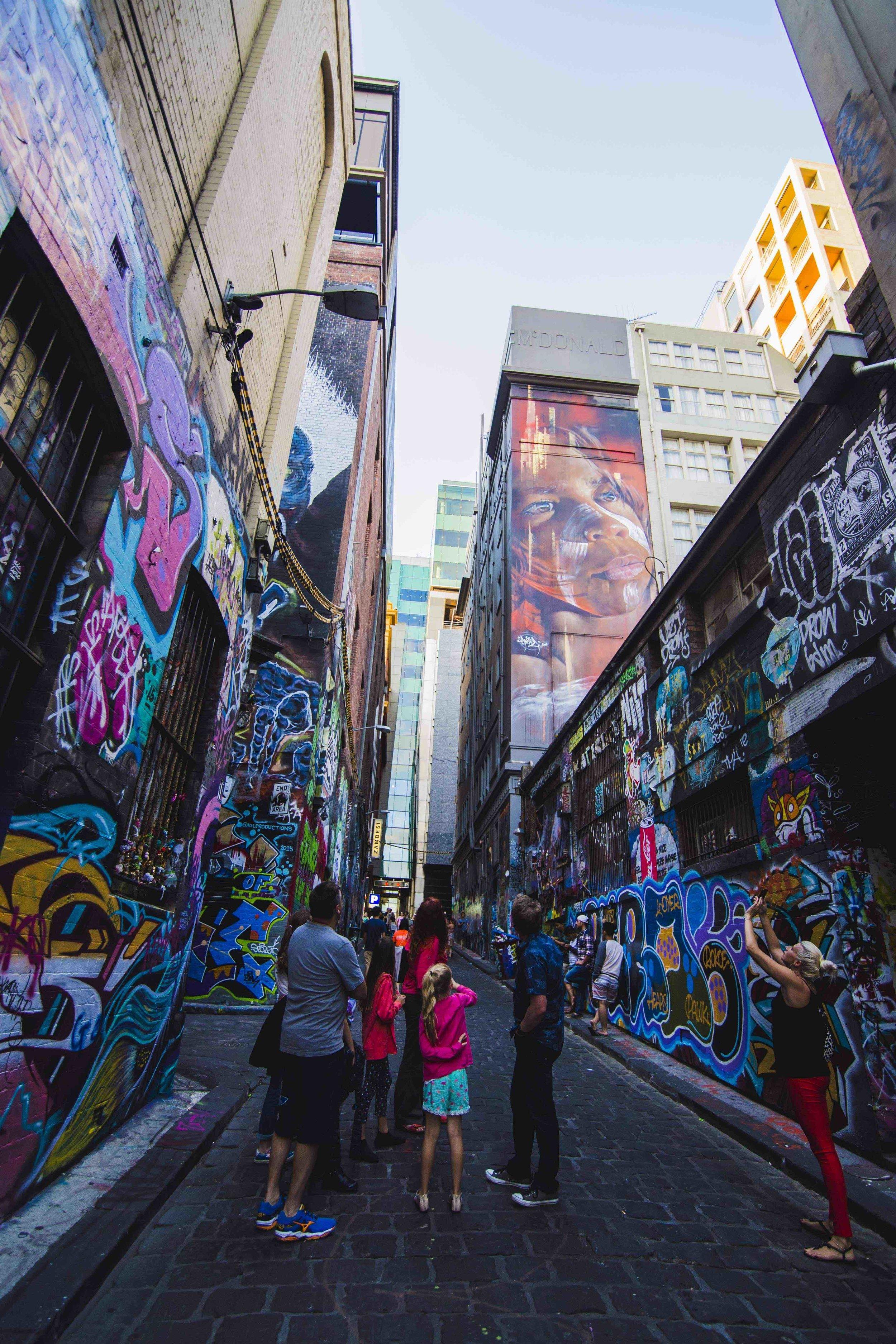 Melbourne's Hosier Lane full of street art. Photo: Marine Raynard