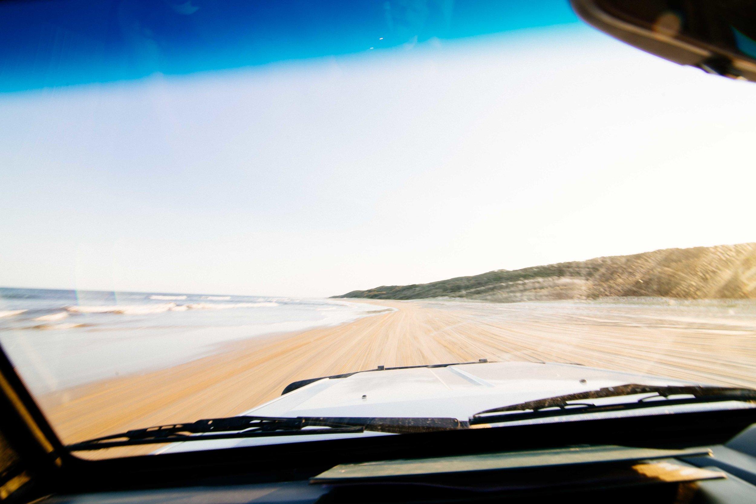 Driving on the beach! Photo: Marine Raynard