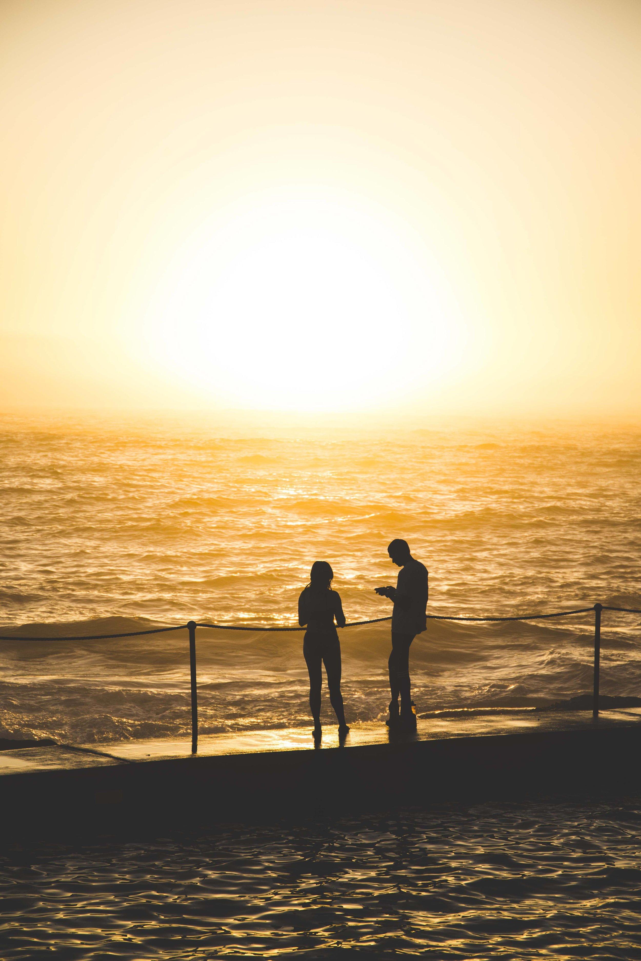 People enjoying sunrise at Bronte Beach Rockpool.Photo: Marine Raynard