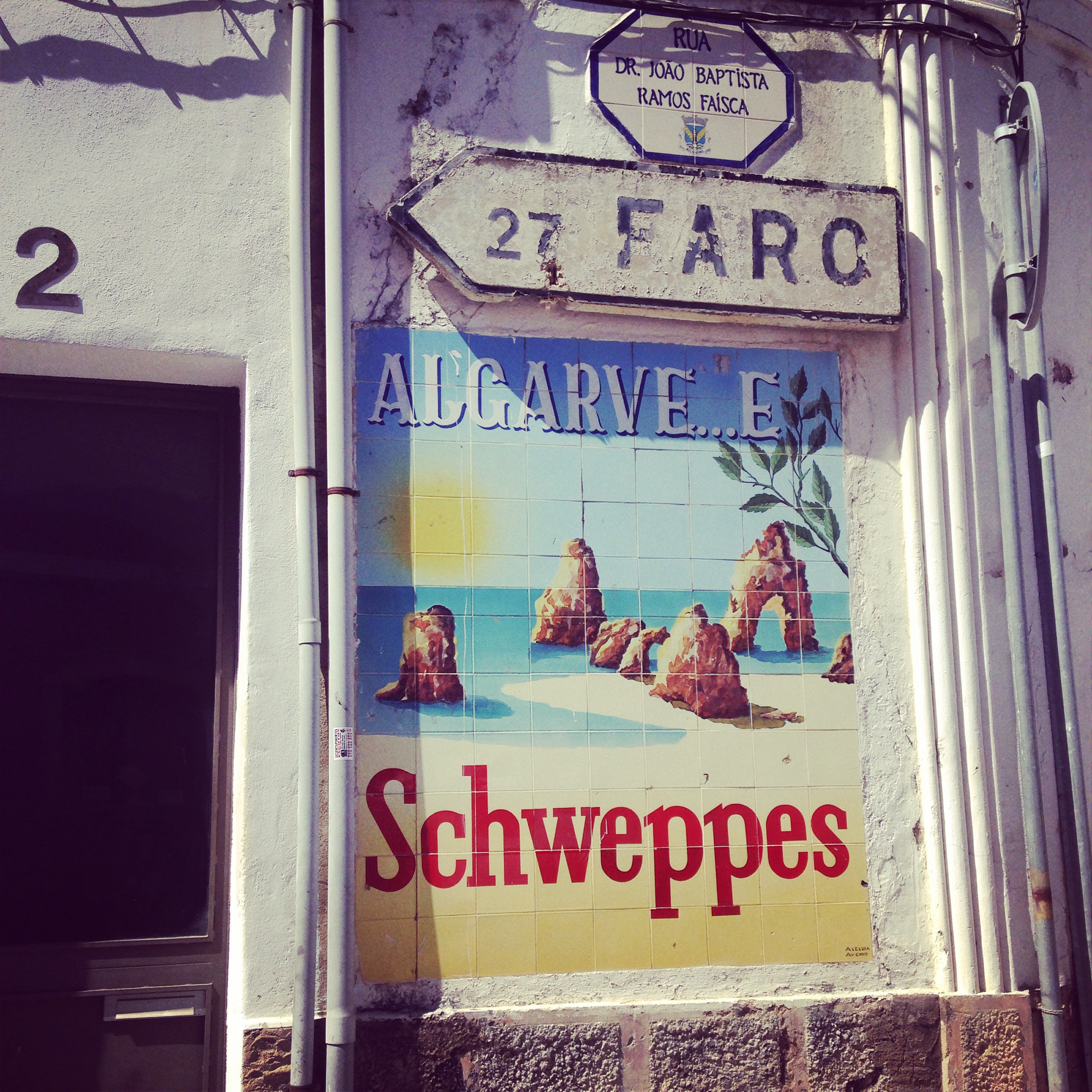 A vintage Schewppes ad in Algarve, Portugal. Photo: Marine Raynard