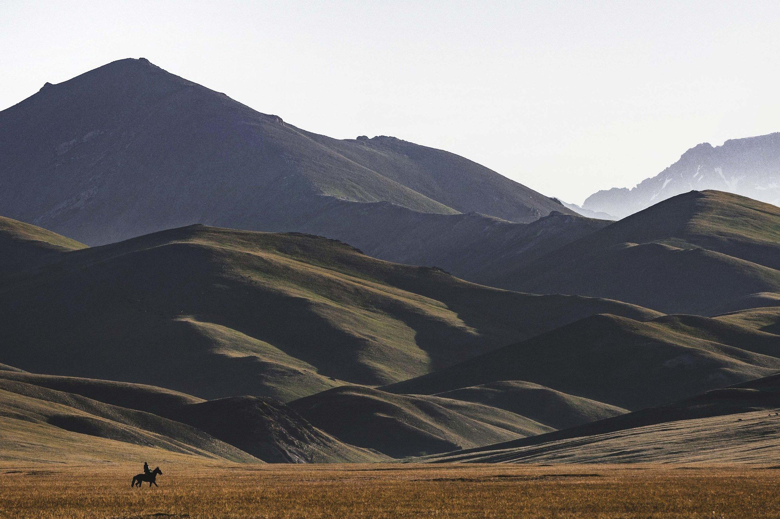 Lone Horseman in Song-Kul. Photo: Kel Morales.