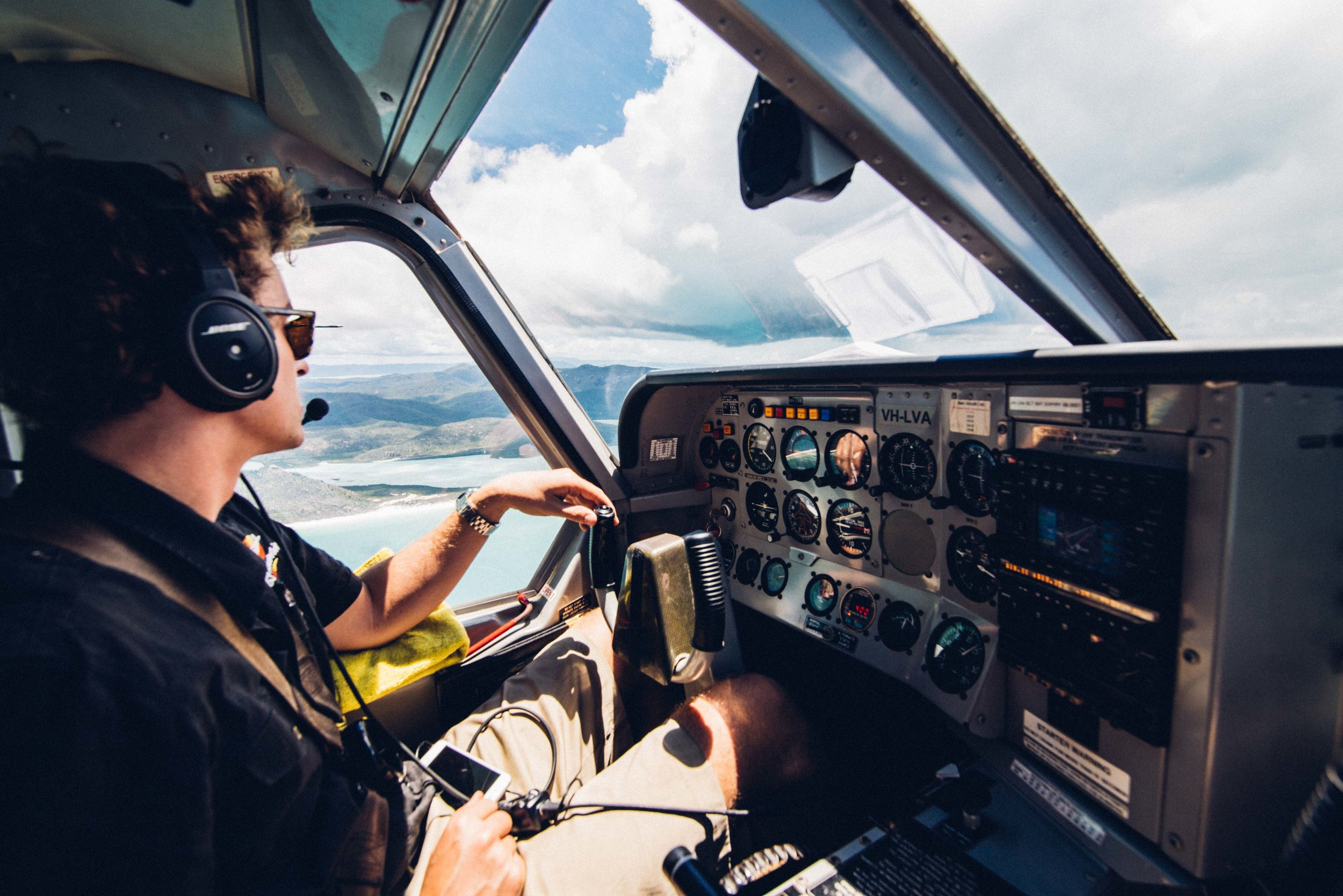 Inside the plane when flying over the Whitsundays. Photo: Marine Raynard.