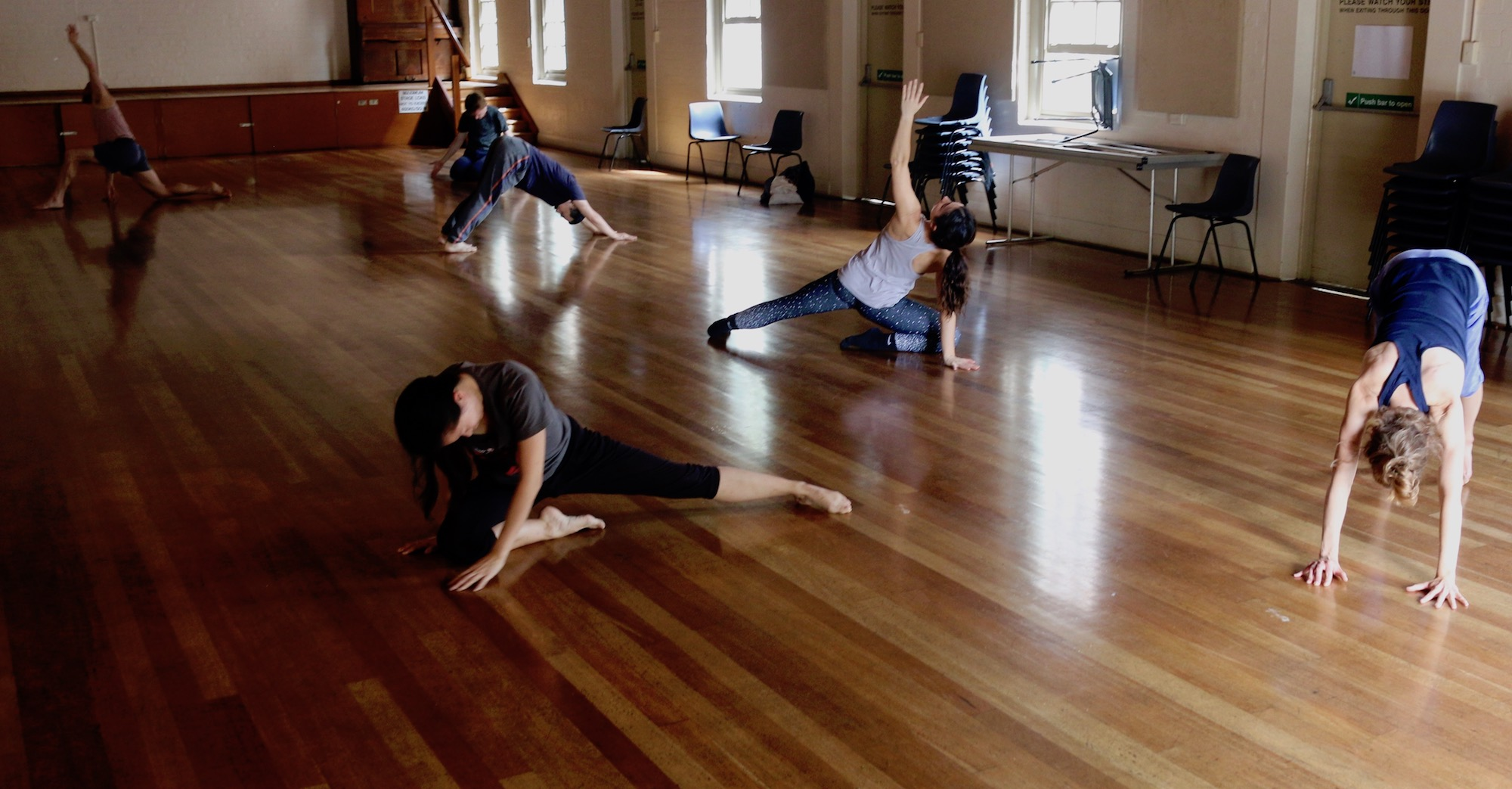Participants in the first series of movement-stretch classes in 2018