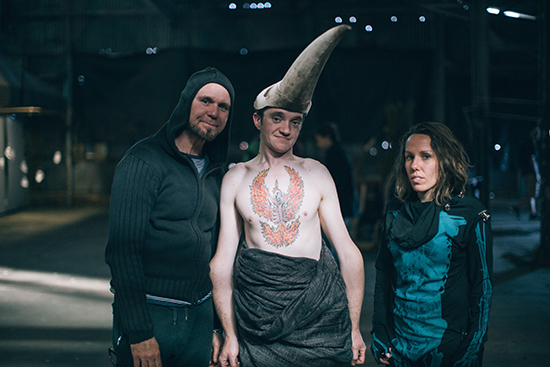 (photo credit: Tom Jones. Pictured: Dean Walsh, Matt Shilcock and Mel Tyquin, Underbelly Arts 2015, originally published by Realtime Arts)