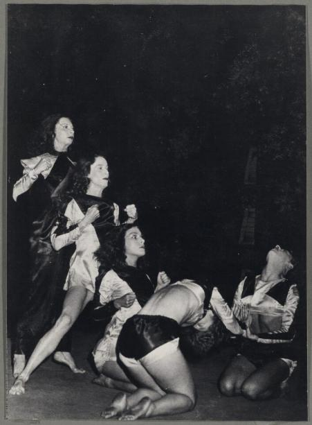 The Demon Machine, Australia and New Zealand 1947. Once established in Sydney, Bodenweiser worked with Australian dancers like (left to right) Coralie Hinkley, Margaret Chapple, Moira Claux, Eileen Cramer, and Mardi Watchorn, who went on to become the next generation of modern dance teachers and creators.  Pictures: National Library of Australia