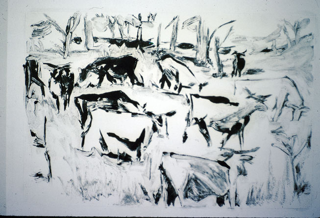 Cattle, 1979, monotype - oil on paper, 60 x 90cm