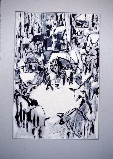Cattle Around A Dam IV, 1989, acrylic on card with sand, 45 x 65cm