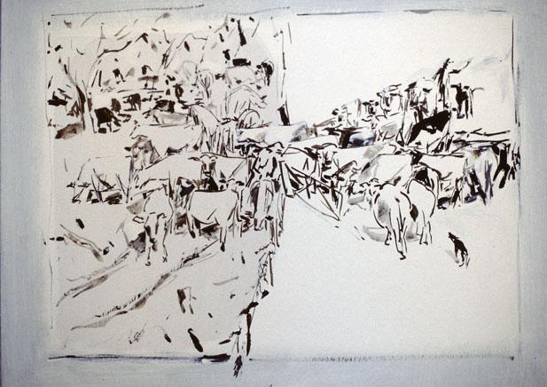 Cattle Through A Gate, 1984, acrylic on card, 63 x 46cm