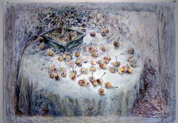 Bonsai with Crabapples on a round table, 1998 – 2000, chalk pastel on Kent paper, 56 x 75 cm