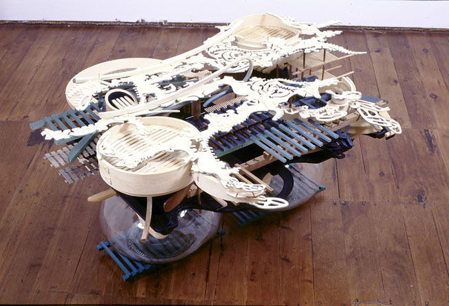 Fairweather's Fishtrap, 1999, wood, bamboo, glass and pigment, 58 x 110 x 74 cm