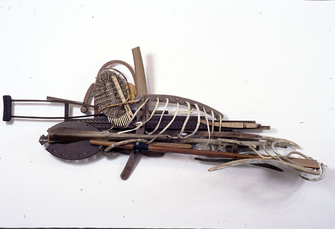 The Old Man and The Sea, 1999, wood, cane, glass and pigment, 231 x 101 x 74 cm