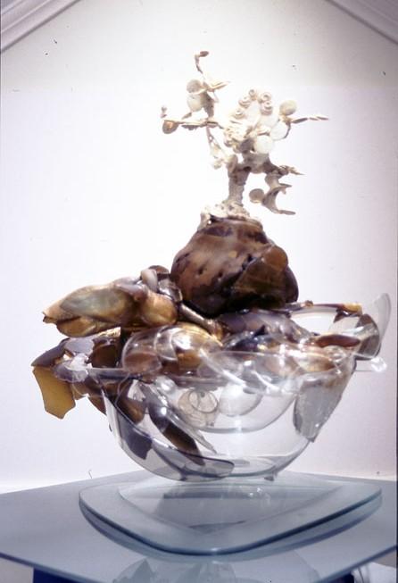 Listening Tree, 2004-5, acrylic, glass, wood, shell, paint and 2 part epoxy, 163 x 60 x 60 cm