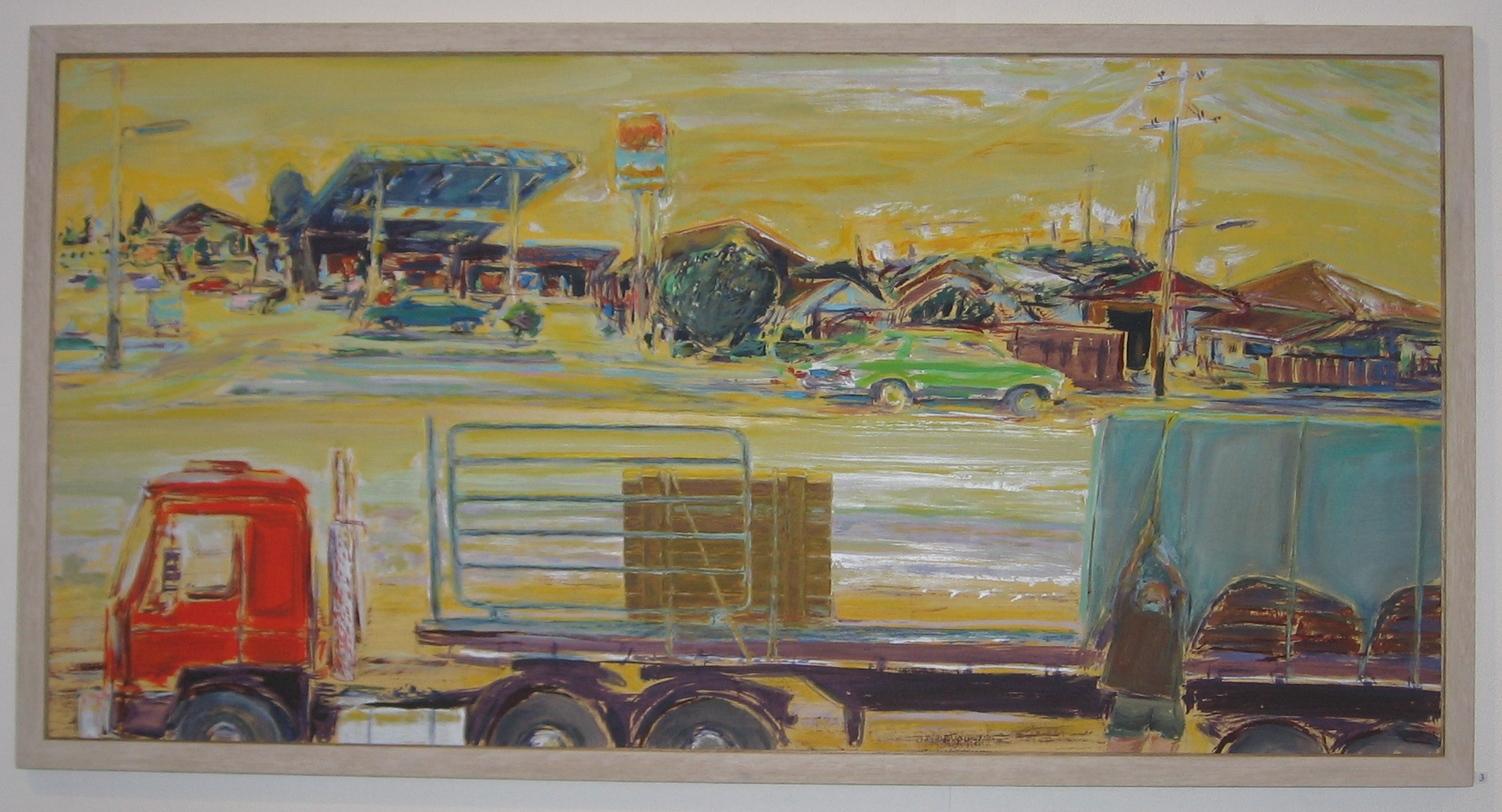 Checking the load, 1992, acrylic on particle board, 61 x 122 cm