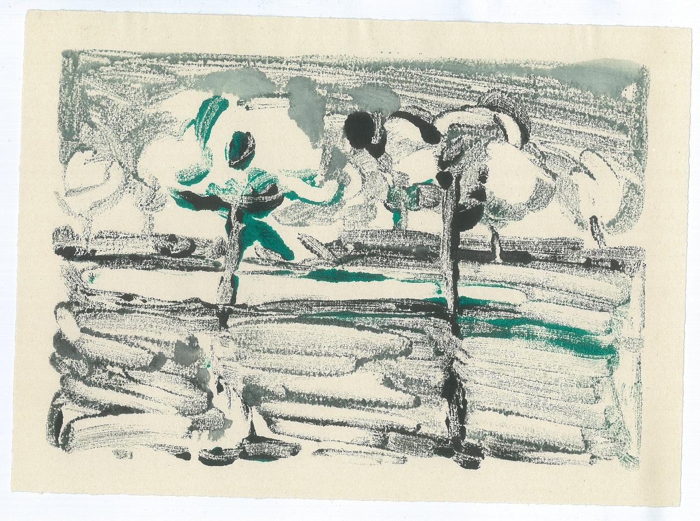 Twin Trees, 1978, monotype - versatex textile ink, 33 x 23 cm
