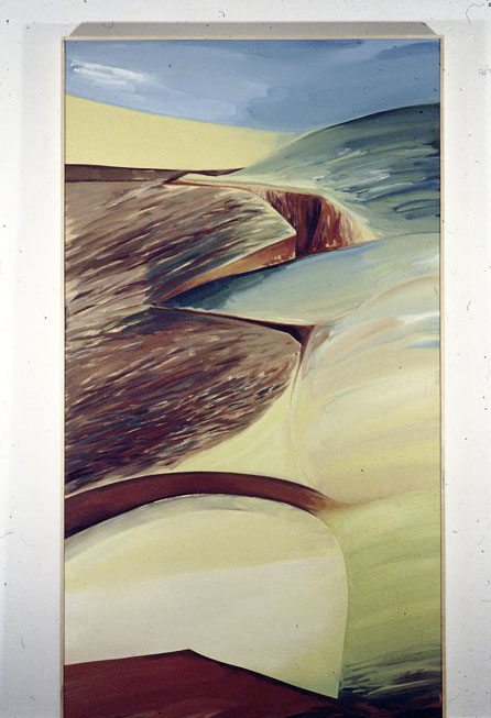 Over Hill, 1977, oil, enamel, beeswax, hessian on plywood, 277 x 176 cm