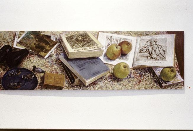 Conversation, 1995, acrylic on linen, 30 x 90cm