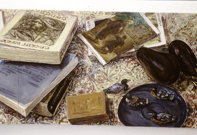 Conversation (detail left side), 1995, acrylic on linen, 30 x 90cm