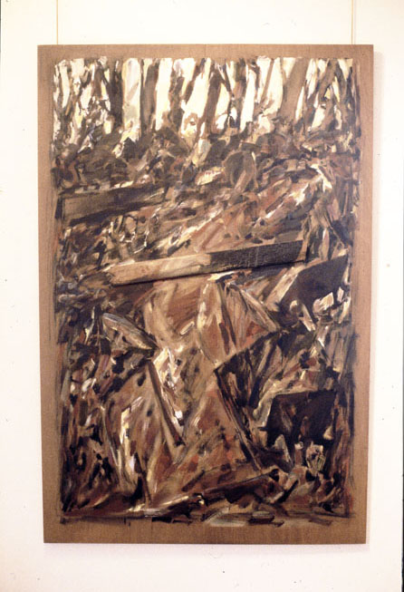 Gully with Burnt Log, 1985, oil & gesso on plywood, 118 x 150 cm