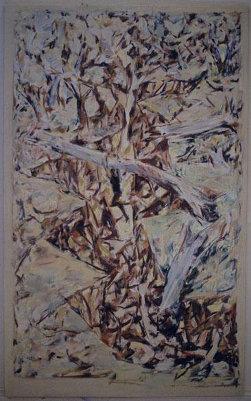 Gully with Boy Crossing, oil & gesso on plywood, 118 x 175 cm