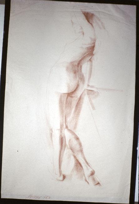 Standing Figure, 1970, sepia conte on paper, 50 x 35 cm