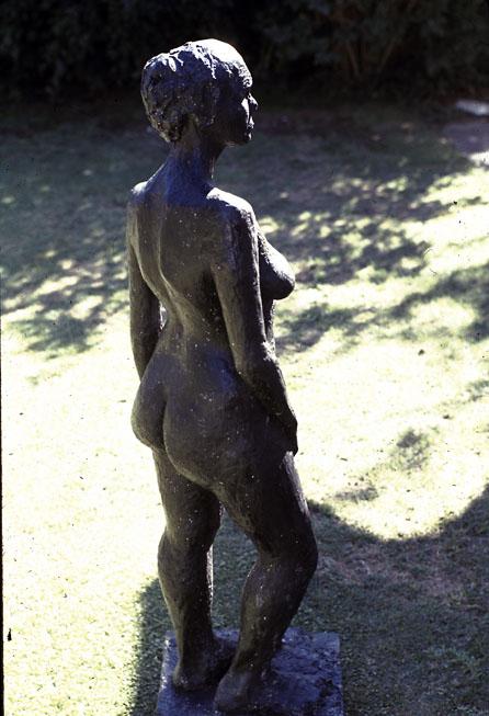 Standing Figure, 1972, black fibre-glass, approximately half life-size