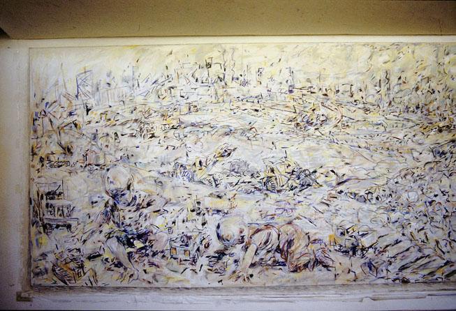 Rip-Rap Rumble (left detail), 1987-88, Acrylic, Pastel and Enamel on Cotton Duck, 750 x 2490 cm