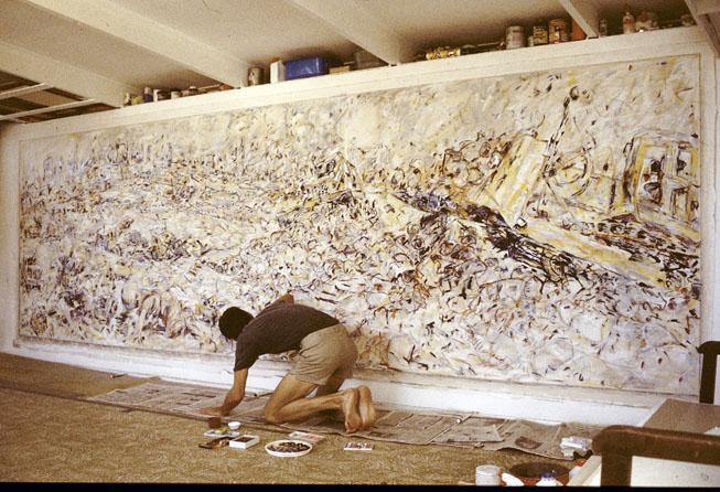 Rip-Rap Rumble (in progress), 1987-88, Acrylic, Pastel and Enamel on Cotton Duck, 750 x 2490 cm