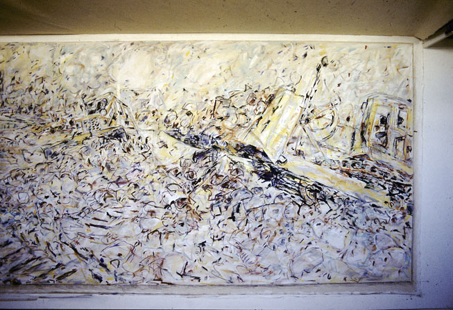 Rip-Rap Rumble (right side detail), 1987-88, Acrylic, Pastel and Enamel on Cotton Duck, 750 x 2490 cm