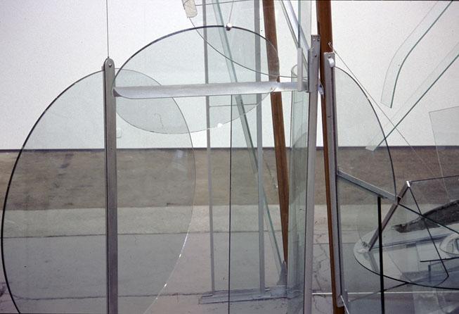Fallen Angel, 2002, Glass, aluminium, steel & wood, 3 x 3.6 x 1.4 m